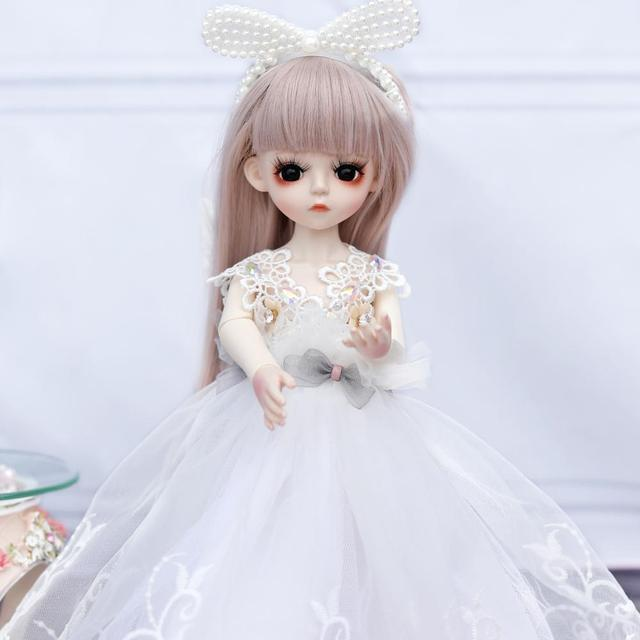 1/6 BJD Doll 18 Ball Jointed Dolls 30CM Girls Doll With White Dress Wig Shoes Makeup Toys For Girls Birthday Gifts Collection 2