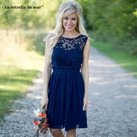 Vestidos boda invitada new Scoop neck lace chiffon A Line Navy Blue Country Style Bridesmaid Dresses Short Wedding Guest Gown