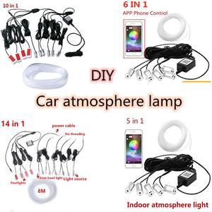 Светодиодный светильник для салона автомобиля, атмосферное настроение, Rgb App, светильник с дистанционным управлением, подсветка, Автомобиль...