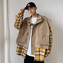 Autumn New Jacket Men Fashion Plaid Stitching Fake Two-piece Coat Streetwear Wild Hip Hop Loose Bomber M-2XL