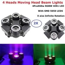 2XLot 4 Heads Beam Lights High Quality 4X60W RGBW 4IN1 LED Beam Moving Head Wash Lights DMX512 Stage LED Dj Xmas DMX Disco Light