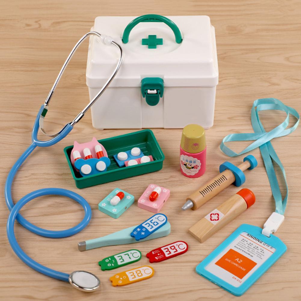 Oys For Children Girl Boy Kids Pretend Play Wood Doctor Toys Red Medical Kit Dentist Medicine Box Sets Cloth Bag Packing Games