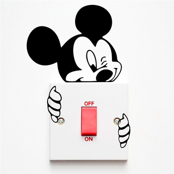 Disney Mickey Minnie Mouse Switch Stickers Bedroom Wall Decals Vinyl Mural Accessories For Living Room Home Decor image