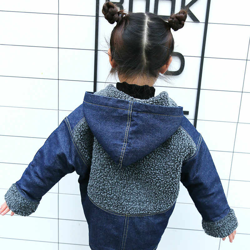 От 3 до 8 лет детская одежда зимняя, средней длины, куртка для мальчиков из овечьей шерсти джинсовая куртка детская одежда для мальчиков и девочек толстые кашемировые джинсовые куртки, пальто