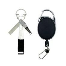 Schnell Knoten Werkzeug 3 in 1 Schnelle Krawatte Nagel Knotter Fly Angeln Clippers Angeln Nipper Binden Zinger Retractor Outdoor Angeln liefert