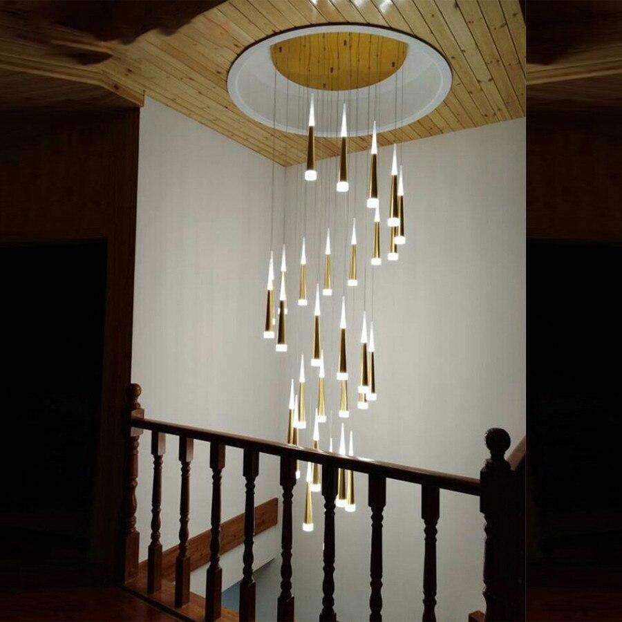 moderno led staircae lustre aluminio conico 01