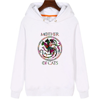 Mother of Cats Hoodies for Women Winter Hooded Sweatshirt Print Pullovers Dracarys Dragon Female White Clothes