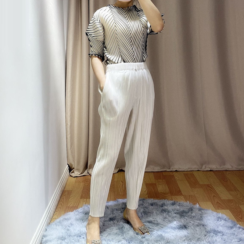 2020 Spring And Summer New Pencil Pants Miyak Pleated Women's Large Size Cropped Pants Solid Color Wild Slim Casual Pants P78799