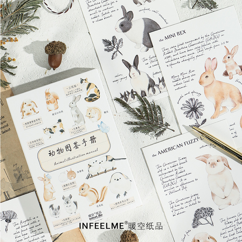 Animal Chart Blessing Greeting Card Postcard Birthday Letter Envelope Gift Card Set Message Card