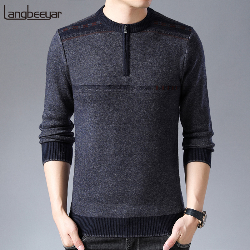 2019 New Fashion Brand Sweater For Mens Half Zip Pullover Slim Fit Jumpers Knitwear Warm Winter Korean Style Casual Clothing Men