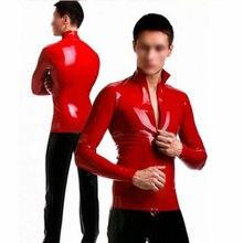 Мужская латексная куртка Красная резиновая рубашка Gummi 0,4 мм футболка на заказ