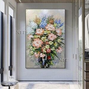 Image 2 - 질감 두꺼운 꽃병 꽃 수제 유화 캔버스 벽 아트 유화 캔버스 나이프 아트 홈 인테리어 벽 사진