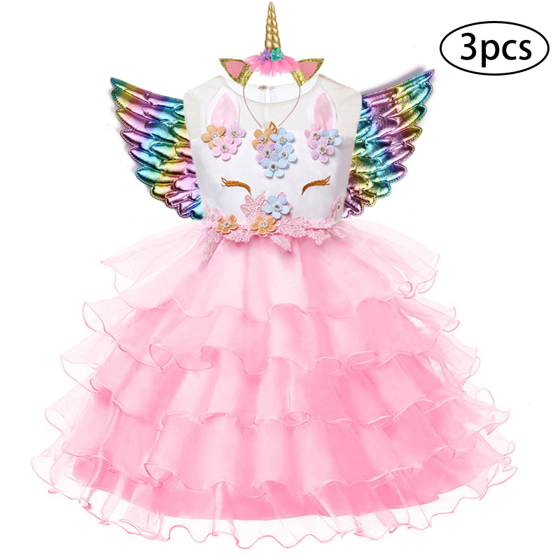 Hec50742467574f18a2eae6e36c52e7fdl New Girls Dress 3Pcs Kids Dresses For Girl Unicorn Party Dress Christmas Carnival Costume Child Princess Dress 3 5 6 8 9 10 Year