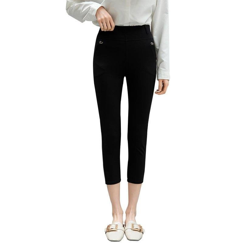 Summer Stretchy Black Sweatpants Women High Waist Calf Length Capri Woman Casual Skinny Slim Pencil Pants Sheer Leggings Pocket