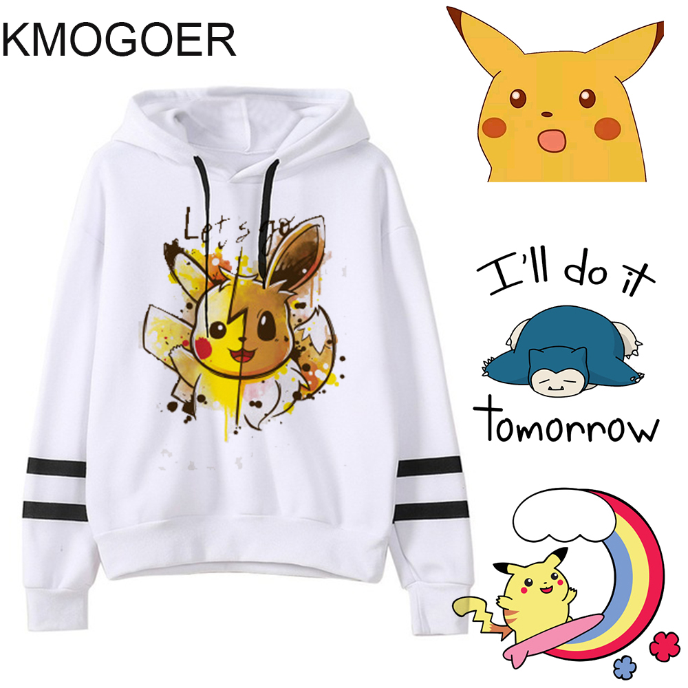 Pokemon Print Spring Female Hooded Fashion Harajuku Women Hoodies Sweatshirts Japanese Cartoon Pika Hoodie Ladiy Girl Pullover