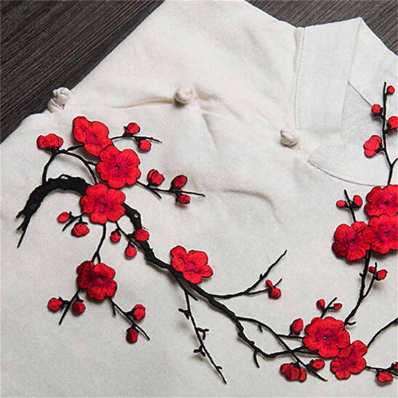 Nieuwe Pruimenbloesem Bloem Applique Kleding Borduren Patch Stof Sticker Iron on Sew op Patch Craft Naaien Reparatie Geborduurde