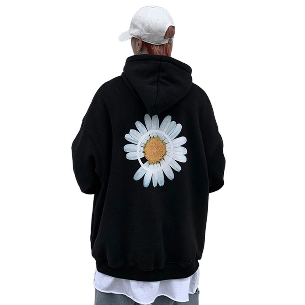 MISSKY New Men Women Sweatshirt Streetwear Hoodie Sweatshirt Chrysanthemum Printing Simple Unisex Pullover Female Male Tops