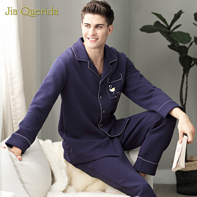 Men's Long Sleeves Winter Pajamas 100% Cotton-padded Three Layers Leisure Embossing Pattern Home Clothes Plus Size Men Sleepwear