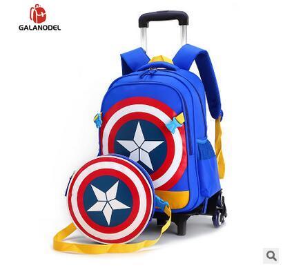 Travel Bags For Kid Boy's Trolley School Backpack Wheeled Bag For School Trolley On Wheels School Rolling Backpacks