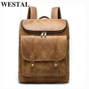 Мужской рюкзак WESTAL, винтажный роскошный брендовый рюкзак из натуральной кожи, школьная сумка для книг 14 дюймов, сумка для ноутбука