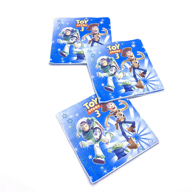 20pcs/pack Toy Story Disposable Napkins Toy Story Theme Birthday Party Decoration Supplies Toy Story Towel Disposable Tableware