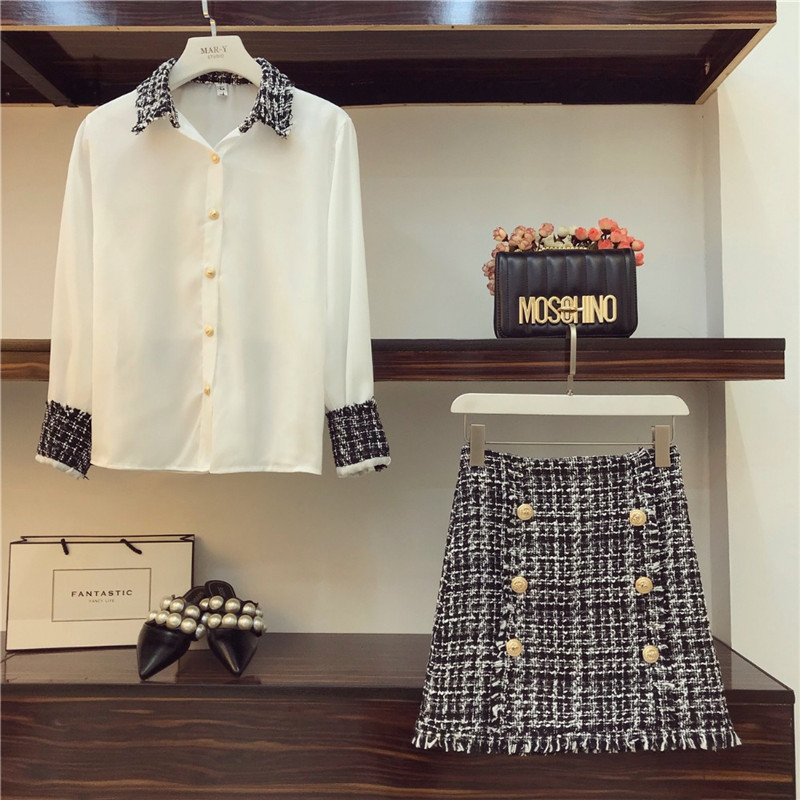 Office 2 Piece Set Women OL Tweed Tassels Chiffon Blouse + Double-Breasted Woolen Tweed Pencil Mini Skirt Set Clothing Suit A104