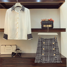 Office 2 Piece Set Women OL Tweed Tassels Chiffon Blouse + Double-Breasted Woole