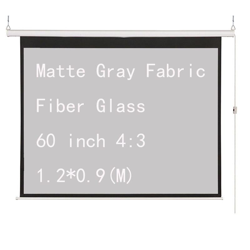 Thinyou 60 pouces 4:3 électrique motorisé projecteur écran mat gris tissu Fiber de verre mur plafond pour LED LCD DLP projecteur