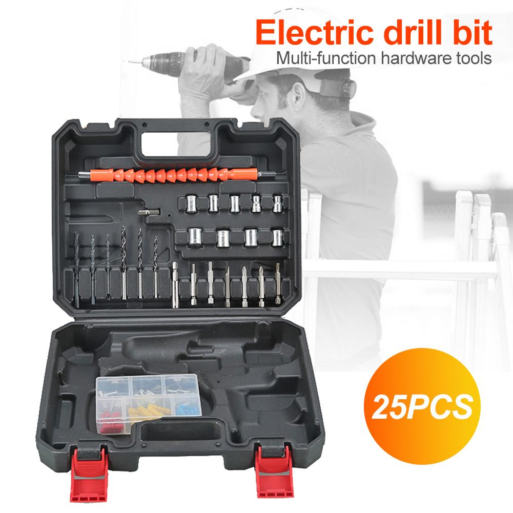 14/24/25pcs Household Toolbox Set Multi-function ABS Case Durable Practical Electric Drill Bits Hardware Tool Kit 255X215X55mm