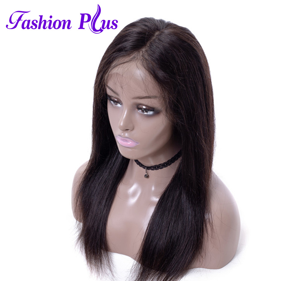 Fashion Plus Straight Glueless Full Lace 13*4 / 4*4 Human Hair Wigs For Women 150% Density Brazilian Remy Hair Pre Plucked