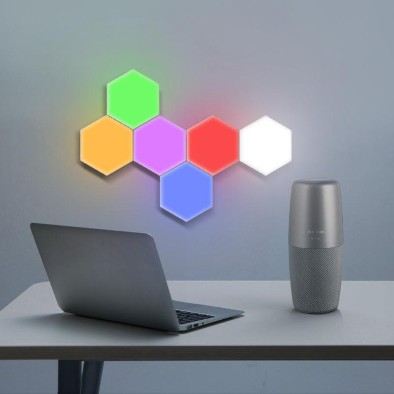 LED Quantum Light Touch Sensor Night Lights Hexagon Light Magnetic Modular Touch Wall Lamp Creative Home Decor Color Night Lamp