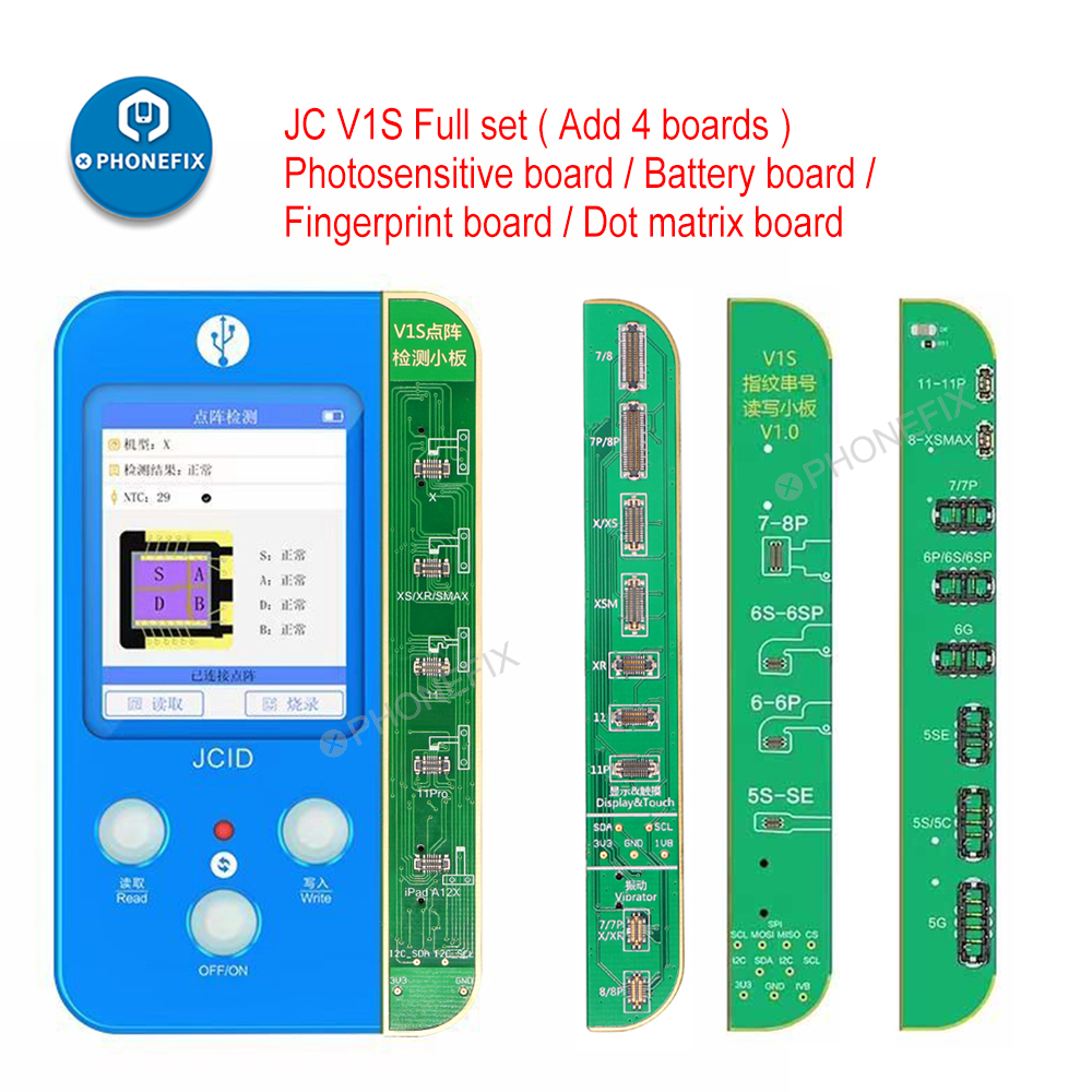 JC V1S Dot Matrix Data Read Write for iPhone Face ID Original Color Touch Shock Baseband Logic Battery Fingerprint Programmer