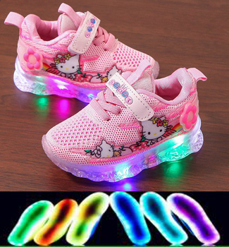 Hello Kitty New Brand Baby First Walkers Hot Sales Cute Girls Shoes Fashion LED Lighted Infant Tennis Glowing Toddlers canvas fashion cute lovely shoes children glowing cartoon baby toddlers slip on cool baby girls boys shoes infant tennis