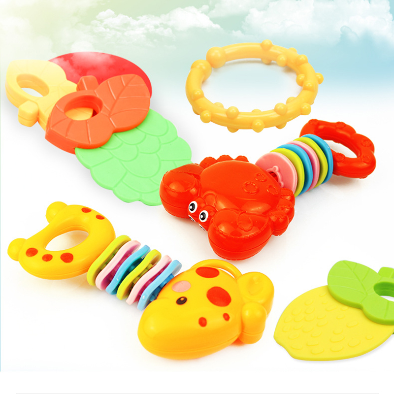 4pcs/set Fruit Marine Life Shape Toddler Toys Teether Toy Dragees Baby Naissance Nursing Mittens Teether Rattles Speelgoed
