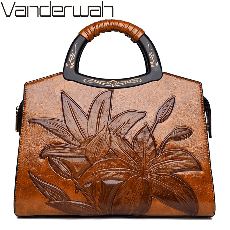 Designer Vintage Leather Crossbody Bags For Women Chinese Style Embossing Shoulder Messenger Bags Floral Handbags High Quality