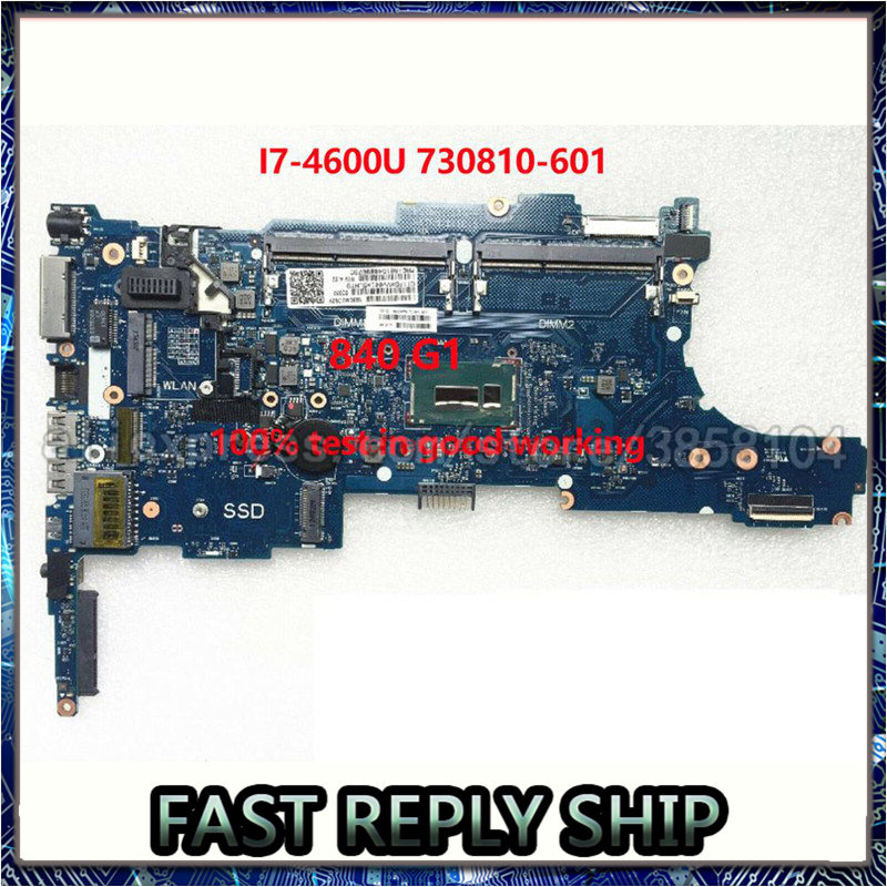 SHELI For HP 840 G1 Laptop motherboard 730810-601 730810-001 6050A2560201-MB-A02 <font><b>I7</b></font>-<font><b>4600U</b></font> CPU notebook pc mainboard test ok image