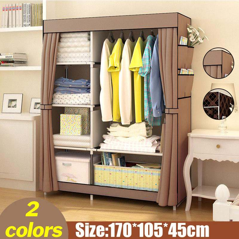 Multifunction Folding Clothes Storage Cabinet Dustproof Moistureproof Closet Stainless steel frame DIY Non-woven Cloth Wardrobe