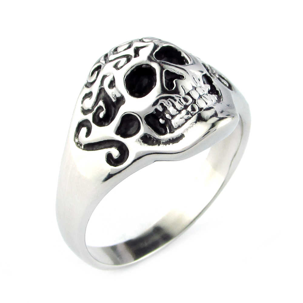Free Shipping Punk 316L Stainless Steel High Quality  Fashion Skull Ring Man Black Oil Painting Jewelry Ring