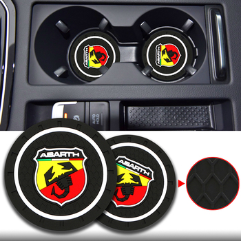 2PCS Car PVC Cup Slot Non-Slip Mat Pad Accessories for Abarth 124 500 Grande Punto Spider 500C 595C 695C Evo 595 685 Accessories image