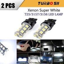 2Pcs T25 3156 3157 LED הנורה סופר מואר לבן 18SMD אות אור רכב ריצת אור זנב עצור הפוך גיבוי led בלם מנורה