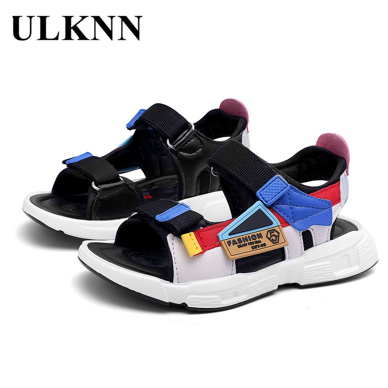 ULKNN 6 BOY'S Sandals Summer 8 Big Boy Korean-style 7 Anti-slip Soft-Sole CHILDREN'S Beach Shoes 9 STUDENT'S 10 Boy 12-Year-Old image