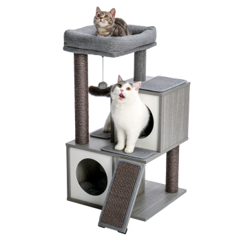 Cat Tree Luxury Cat Tower with Double Condos Spacious Perch Fully Wrapped Scratching Sisal Posts and Replaceable Dangling Ball