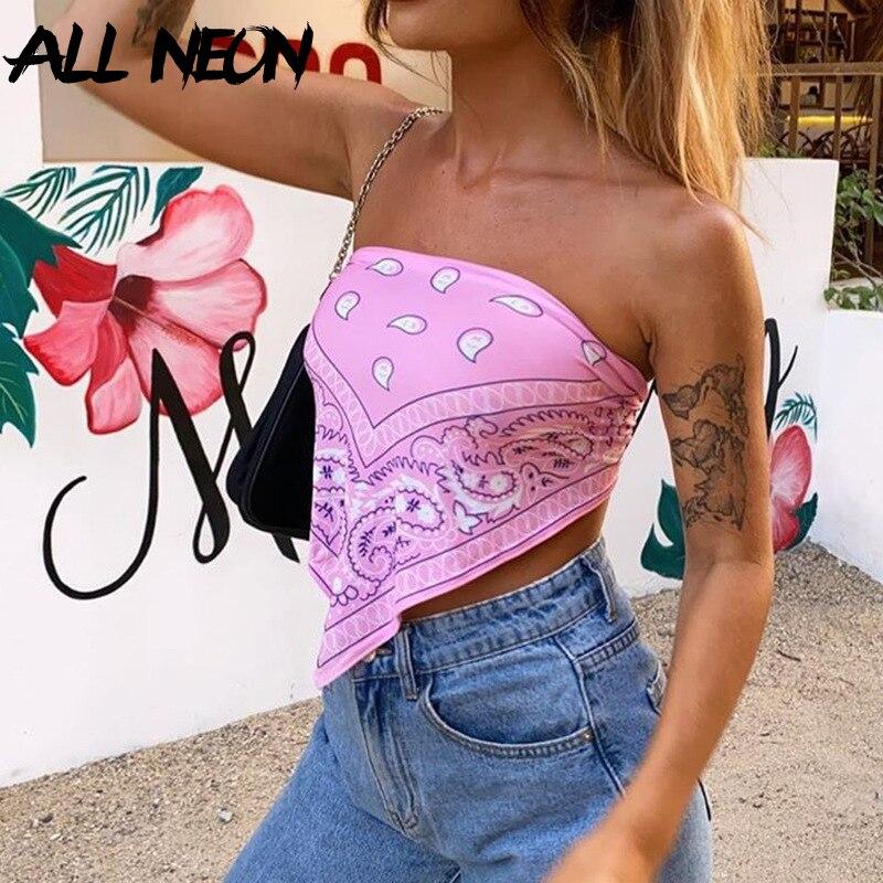 ALLNeon Vintage E-mädchen Druck Cropped Bandana Top Sommer Mode Liebsten Bandage Backless Crop Tops 90s Sleeveless Tank chic