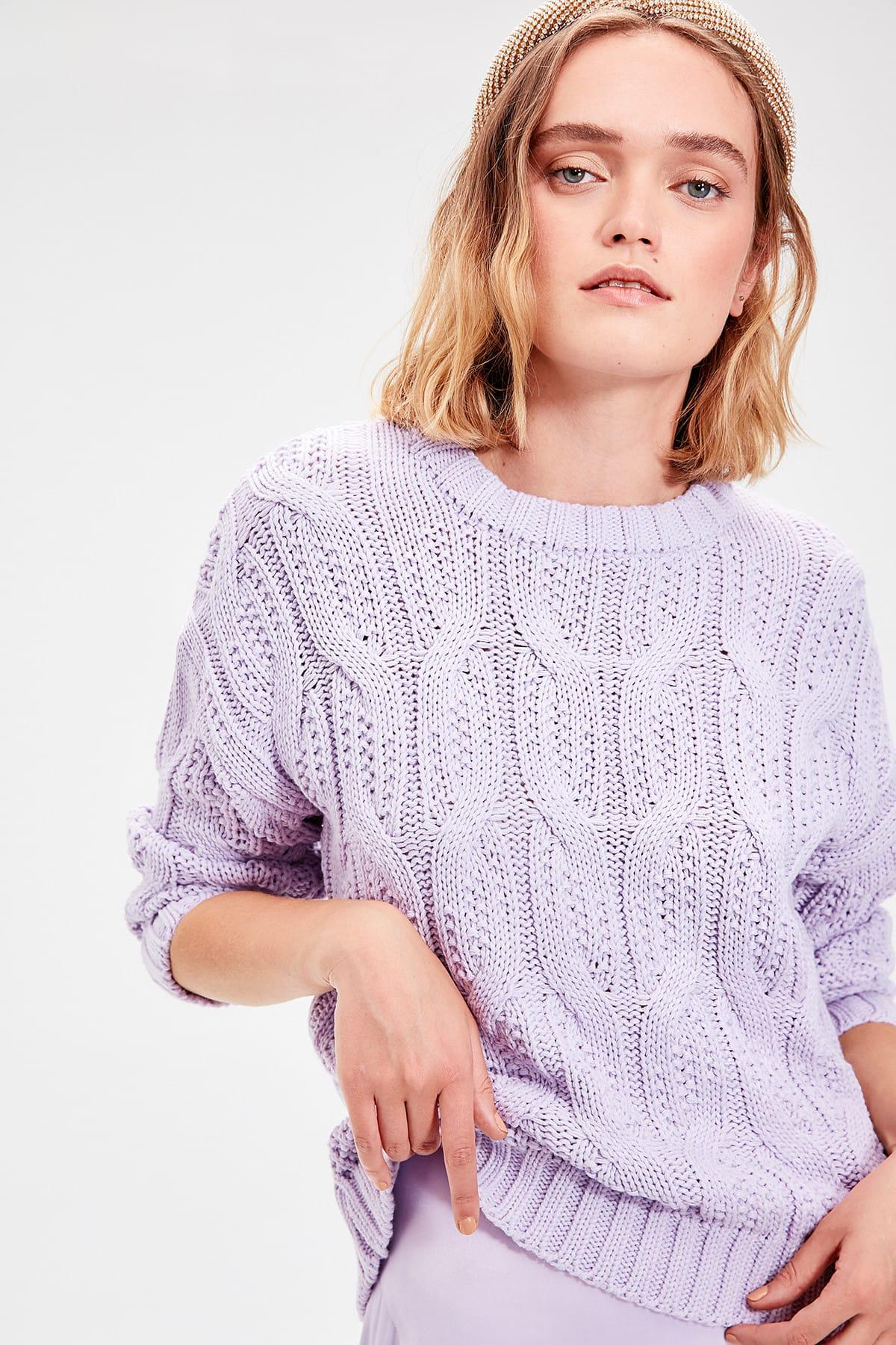 Trendyol Lilac Hair Braided Knitwear Sweater TWOAW20ZA0060