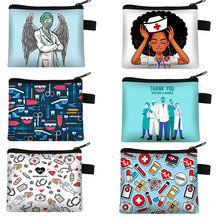 Coin Purse Ladies Wallet Wearing Printing Girl Cute Doctor with Wings Gift Mask ECG
