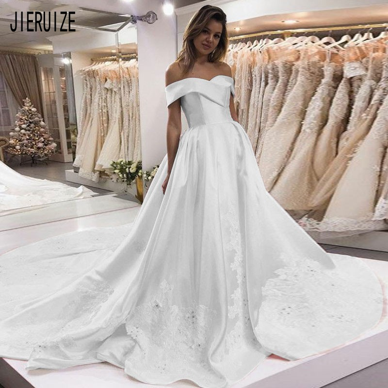 JIERUIZE Simple Wedding Dress Off Shoulder Lace Appliques Beaded Bridal Gown Back Zipper Vestidos De Novia Satin Wedding Gowns