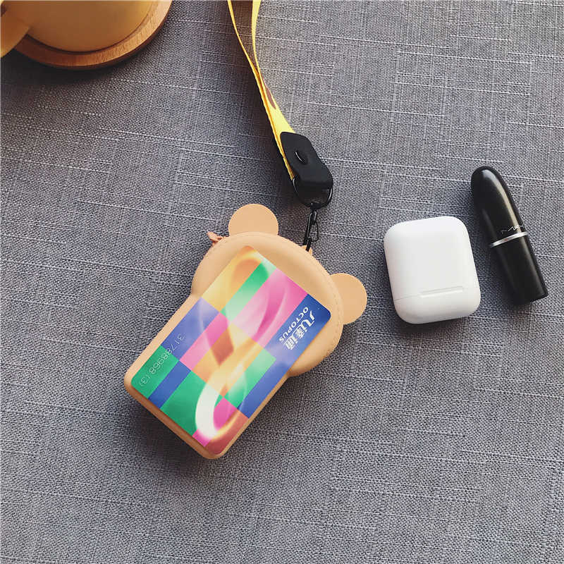 קריקטורה דוב נשים מטבע ארנק קטן ארנק חמוד אוזניות תיק ילדים נשי שינוי ארנק מיני רוכסן מטבע מפתח אוזניות קו פאוץ