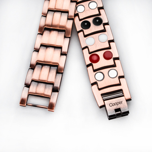 Image 5 - Hottime Double Row 4 IN 1 Bio Elements Energy Magnetic Bracelet Mens Fashion Healing 99.95% Pure Copper Bracelets Bangles