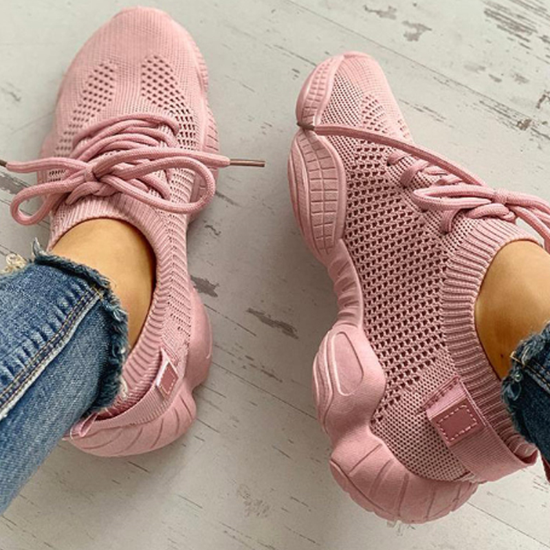 Puimentiua Fashion Women Vulcanized Casual Shoes Mesh  Sneakers Ladies  Up Stretch  Flat Woman Shoes Zapatos Mujer Sport Shoes