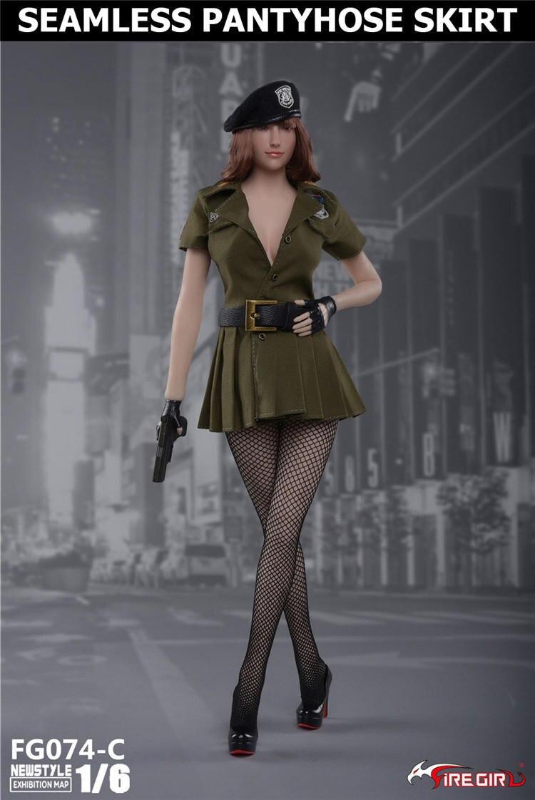 Bricolage feu fille jouets 1/6 FG074 tireur femme police derss jupe avec bas casquette sous-vêtements vêtements ensembles sans corps Figure - 3